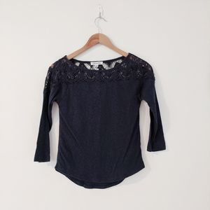 Aeropostale Navy Blue Crochet Lace Top